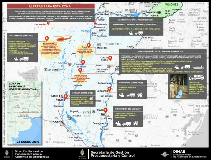 El Ministerio de Defensa continúa con la asistencia en las zonas del litoral del país afectadas por las inundaciones 20190152