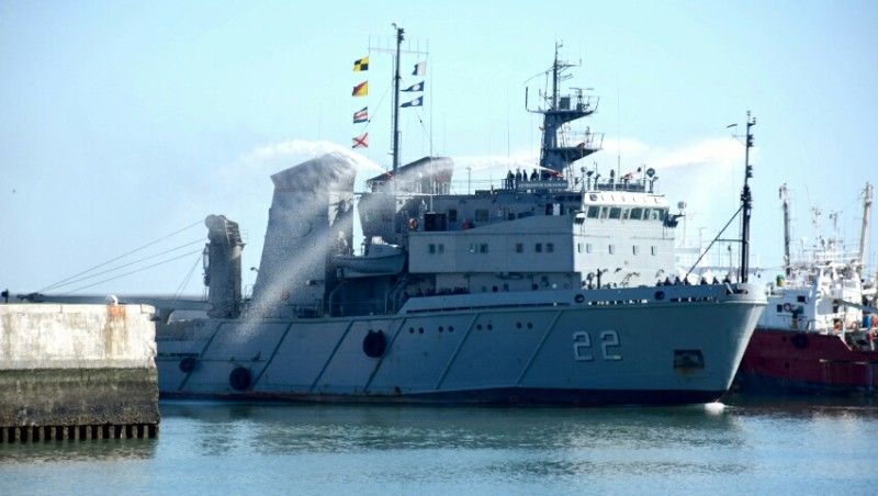"ARA ""Estrecho de San Carlos"" destacado a Caso SAR de velero a 1400km al Este de Comodoro Rivadavia. 20190325"