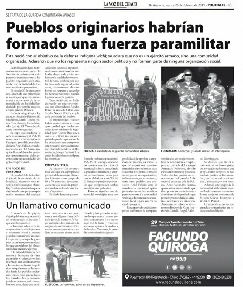 """Guardia comunitaria Wichi: Armados contra el """"Narcotráfico y el desmonte ilegal"""" 20190329"""