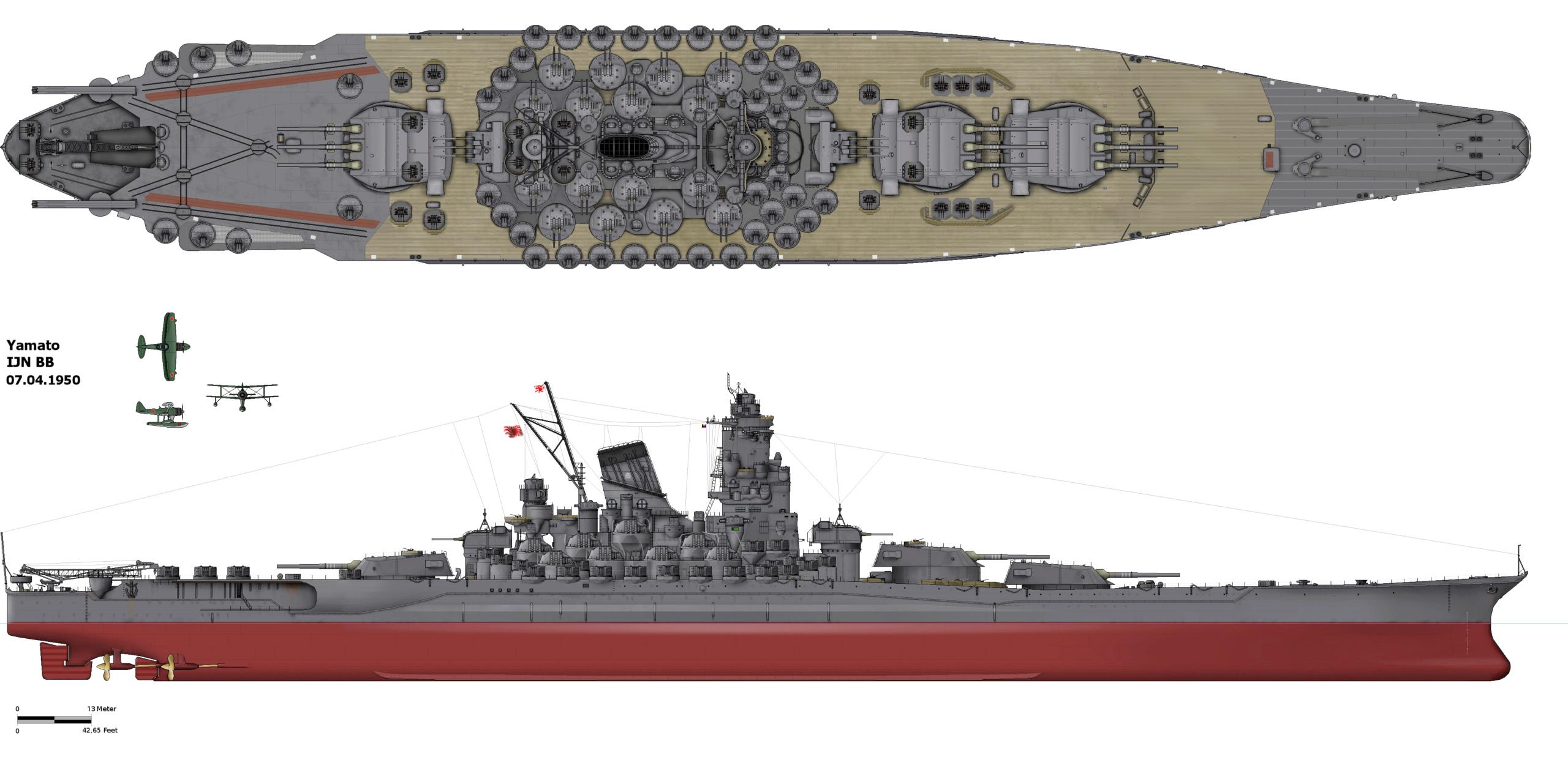 [Uchronie] IJN Yamato 1955 (Nichimo, Fujimi et scratch 1/200°) par habikitokay - Page 3 Yamato11