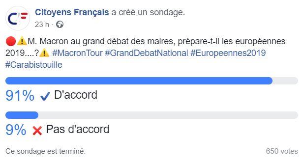 M. Macron au grand débat des maires, prépare-t-il les européennes 2019....? Facebo11