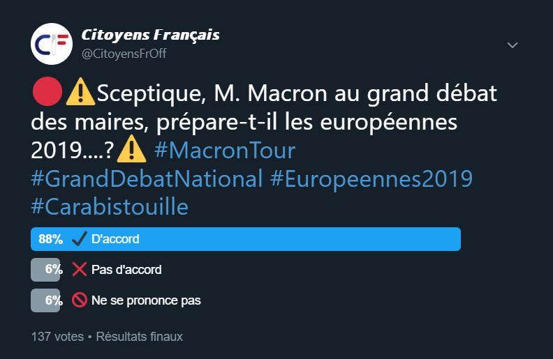 M. Macron au grand débat des maires, prépare-t-il les européennes 2019....? Twitte11