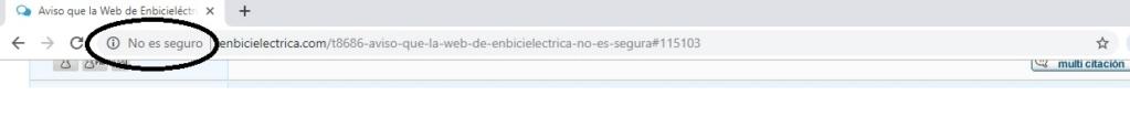 Aviso que la  Web  de Enbicieléctrica no es segura ... Aviso10