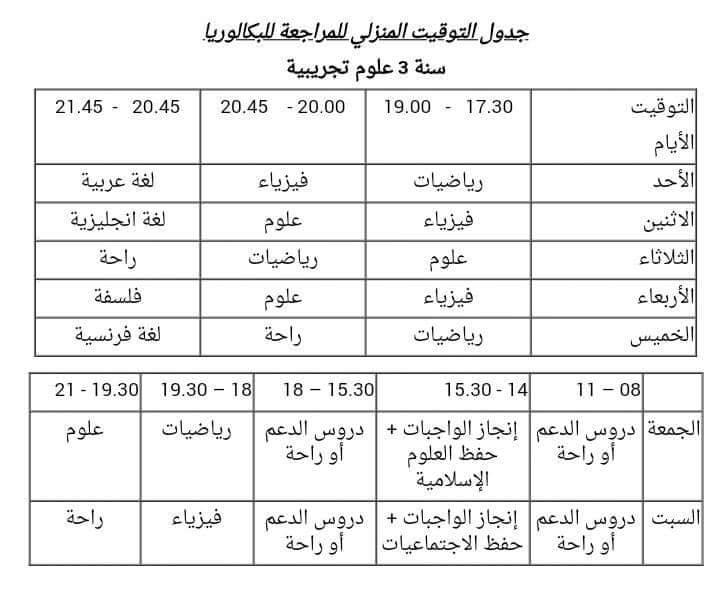 جدول التوقيت المنزلي للمراجعة للبكلوريا 16252011