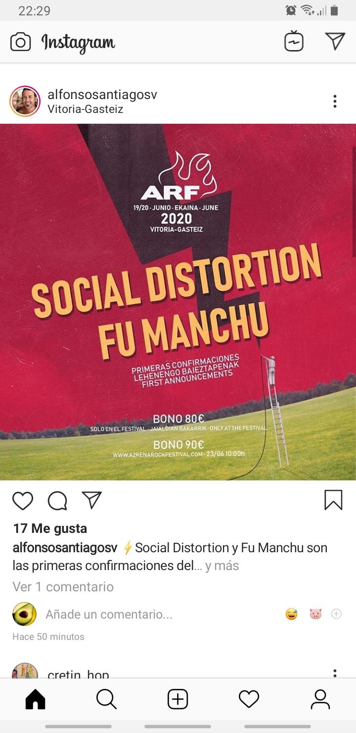 Azkena Rock Festival 2020. 19-20 Junio. Social Distortion y Fu Manchu  Screen16