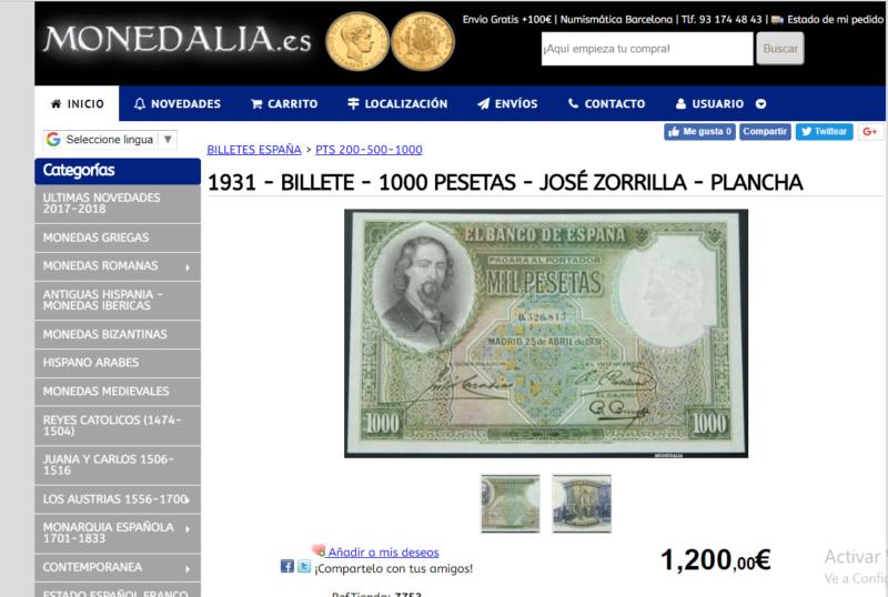 1000 Pesetas Jose Zorrilla precios y estimaciones  0934f310
