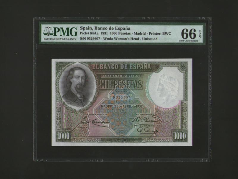 1000 Pesetas Jose Zorrilla precios y estimaciones  1911