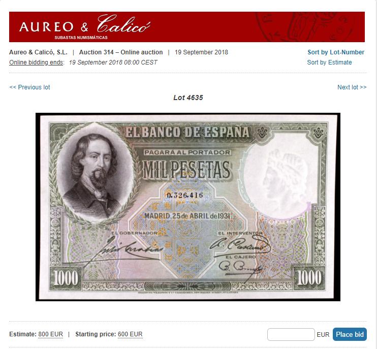 1000 Pesetas Jose Zorrilla precios y estimaciones  39b5dd10