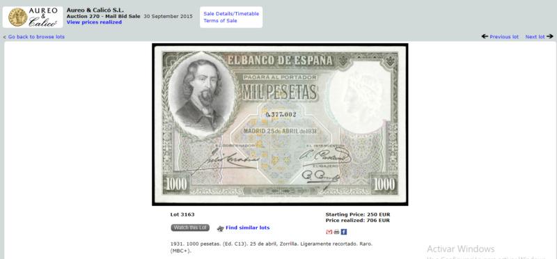 1000 Pesetas Jose Zorrilla precios y estimaciones  39b83a11