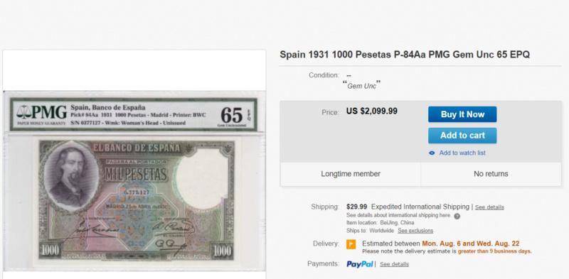 1000 Pesetas Jose Zorrilla precios y estimaciones  4379a010
