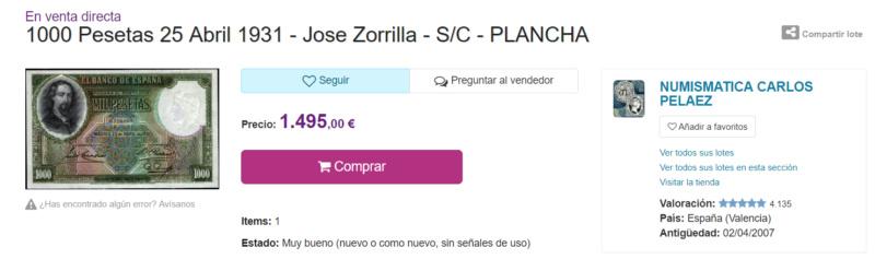 1000 Pesetas Jose Zorrilla precios y estimaciones  444b9910