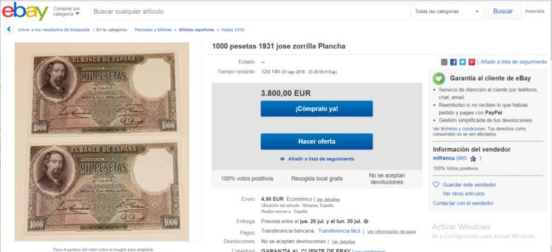 1000 Pesetas Jose Zorrilla precios y estimaciones  8b488411
