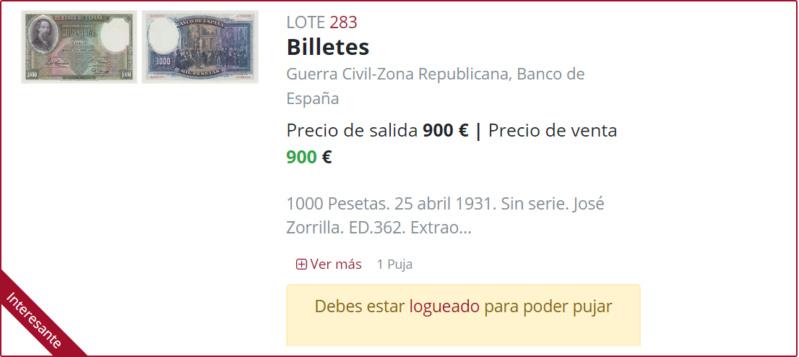 1000 Pesetas Jose Zorrilla precios y estimaciones  B9362811