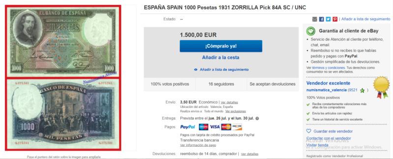 1000 Pesetas Jose Zorrilla precios y estimaciones  Fa959d10
