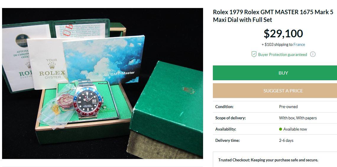 Montre vendue à regret pour projet autre - Rare Rolex GMT 1675 Maxi Dial - Boîte - Papier Expert Rolex reconnu- Possible échange étudie proposition équitable seulement sur Rolex Daytona acier ou Patek Philippe Ebay10