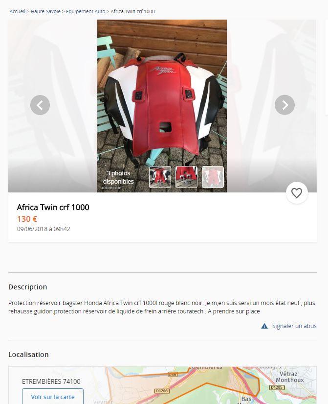 Protection réservoir bagster Honda Africa Twin crf 1000l rouge blanc noir Captur10
