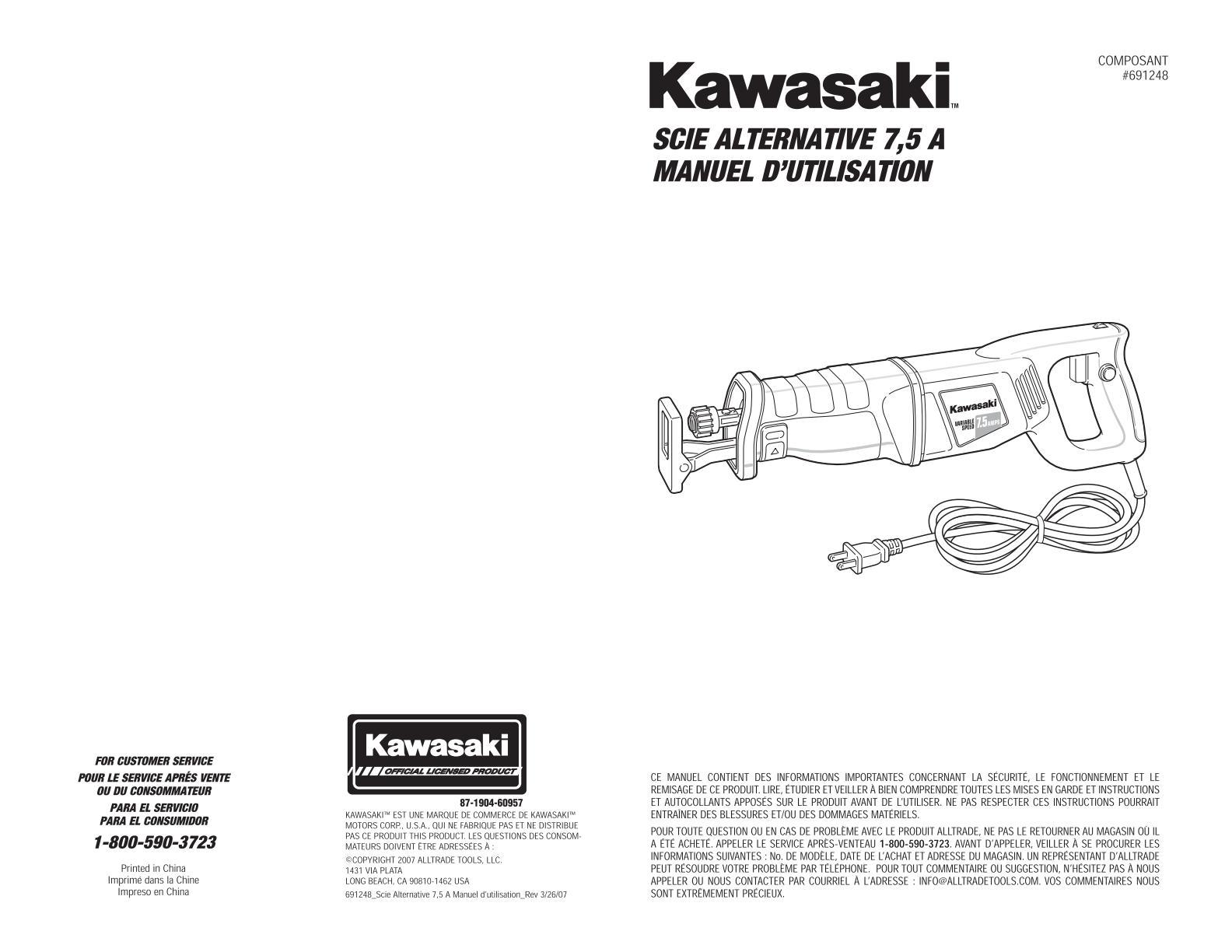 Kawasaki scie alternative 7.5A Uw1180
