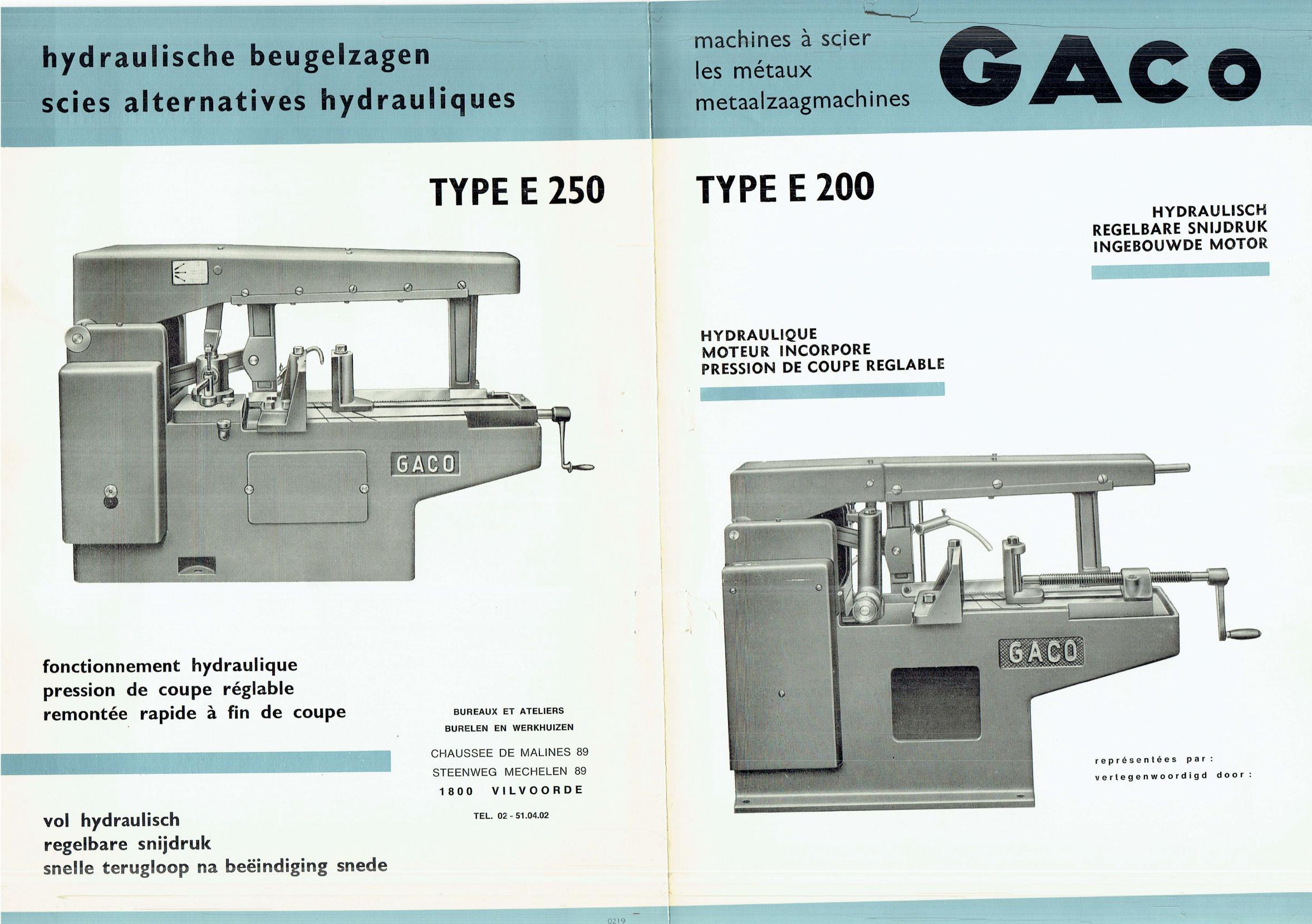 GACO type E 200 et E 250 Uw213