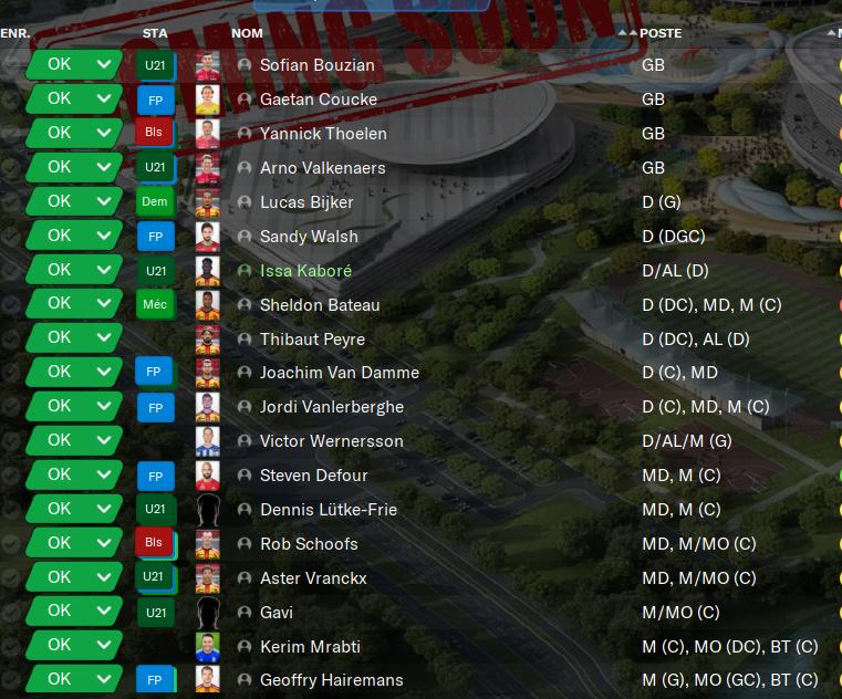 Enregistrement des joueurs - Jupiler Pro League 4200