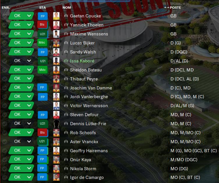 Enregistrement des joueurs - Jupiler Pro League 5150