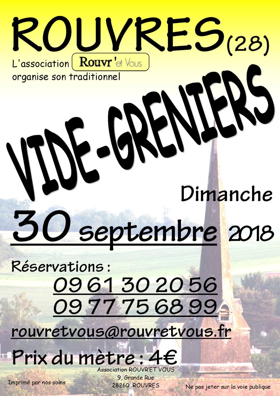 VIDE-GRENIERS à ROUVRES (Eure & loir) le 30 septembre 2018 Affich11