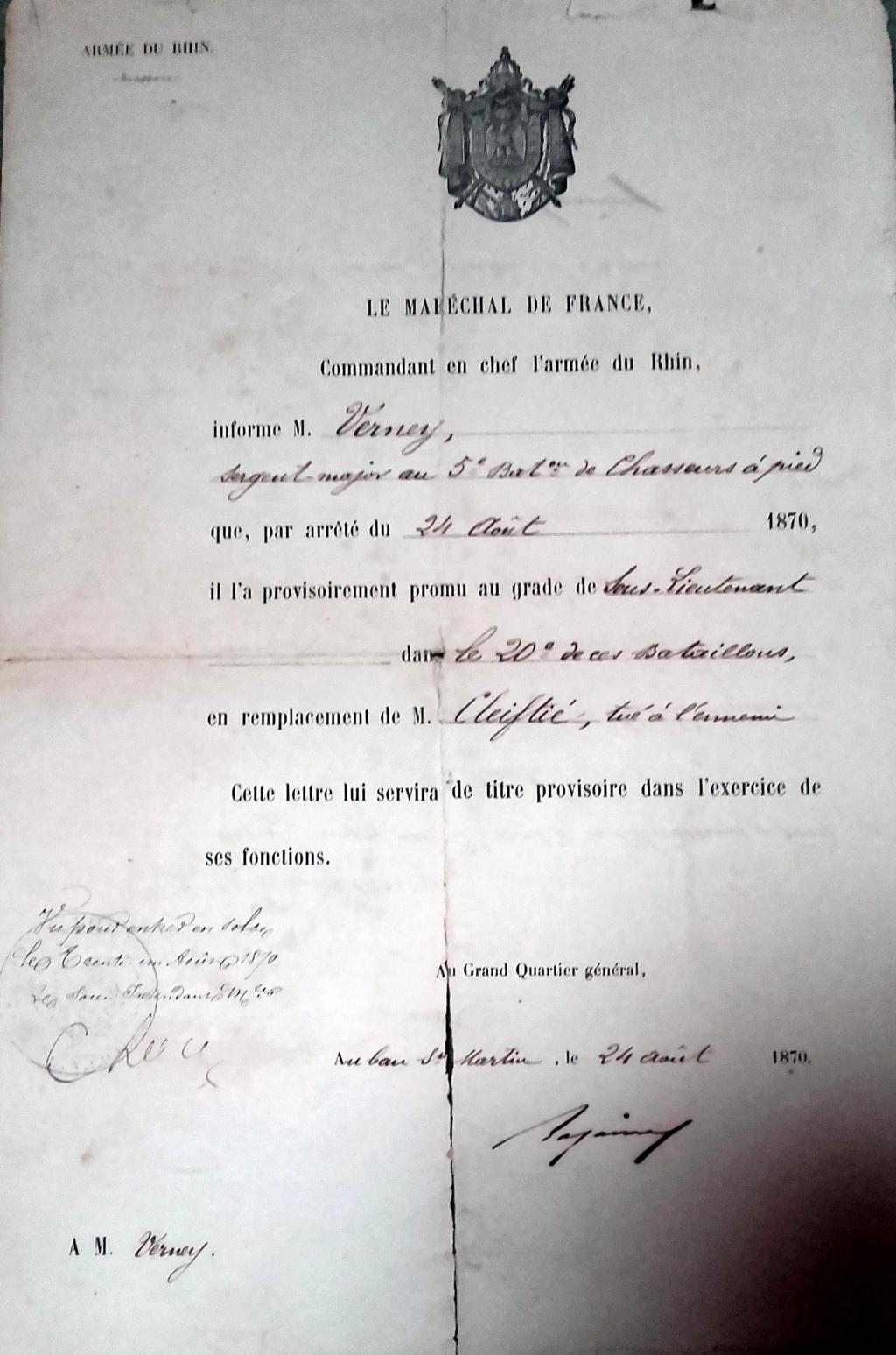 Nomination au grade de Sous Lieutenant du Sergent Major Verney signé Bazaine à Metz 20200428
