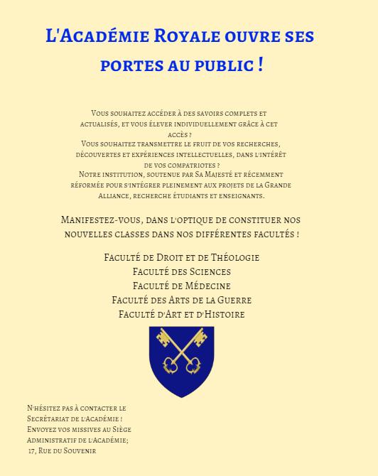 Communication de l'Académie Royale. Affich10