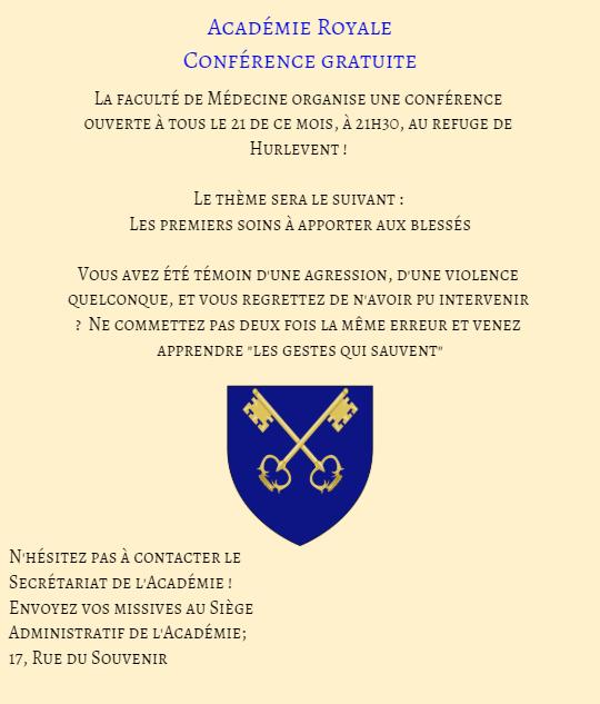 Communication de l'Académie Royale. Affich11