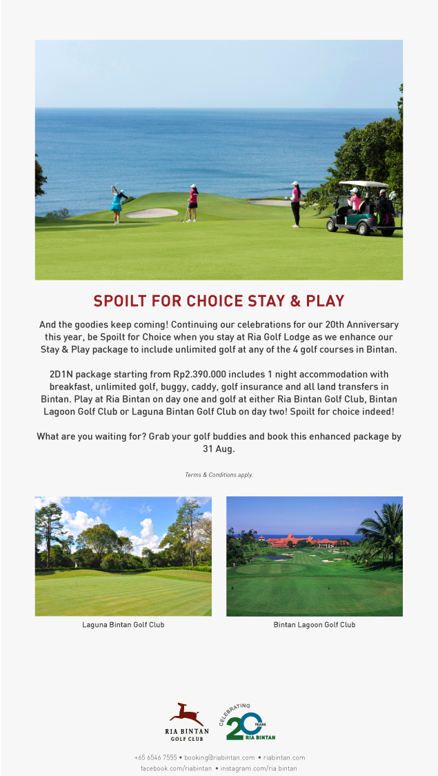 Golf at Ria Bintan and other golf courses in Bintan too!  Spoilt10