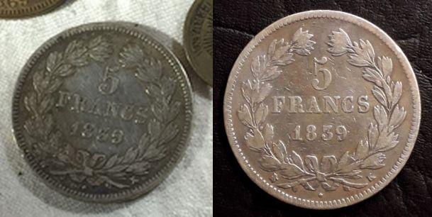 Fausse monnaie de 5 Francs Louis-Philippe 1839 K  1839k_12