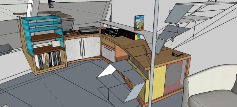 Métal et bois : escalier et meuble ! Meuble11