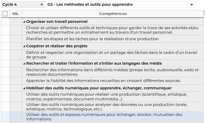 """Evaluation du domaine 2 du socle commun - cycle 4 - Des méthodes et des outils pour apprendre"""" Captur12"""