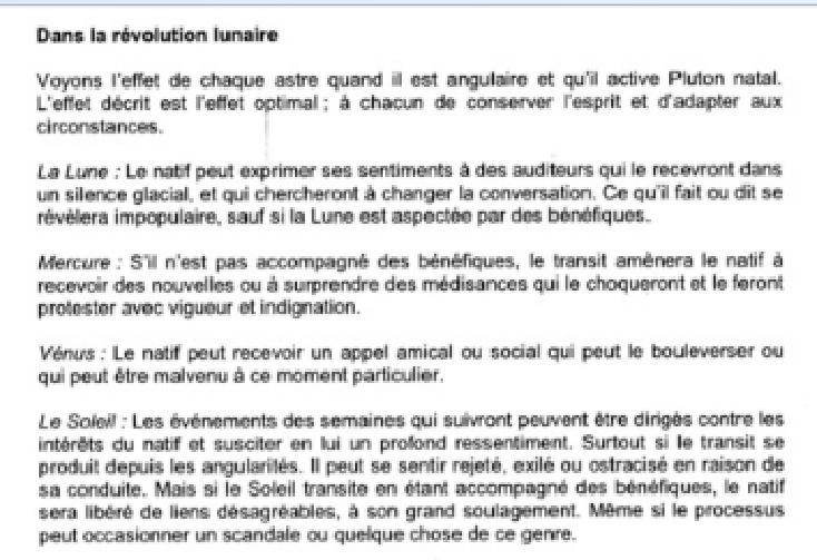 Révolutions Lunaires selon FAGAN 111