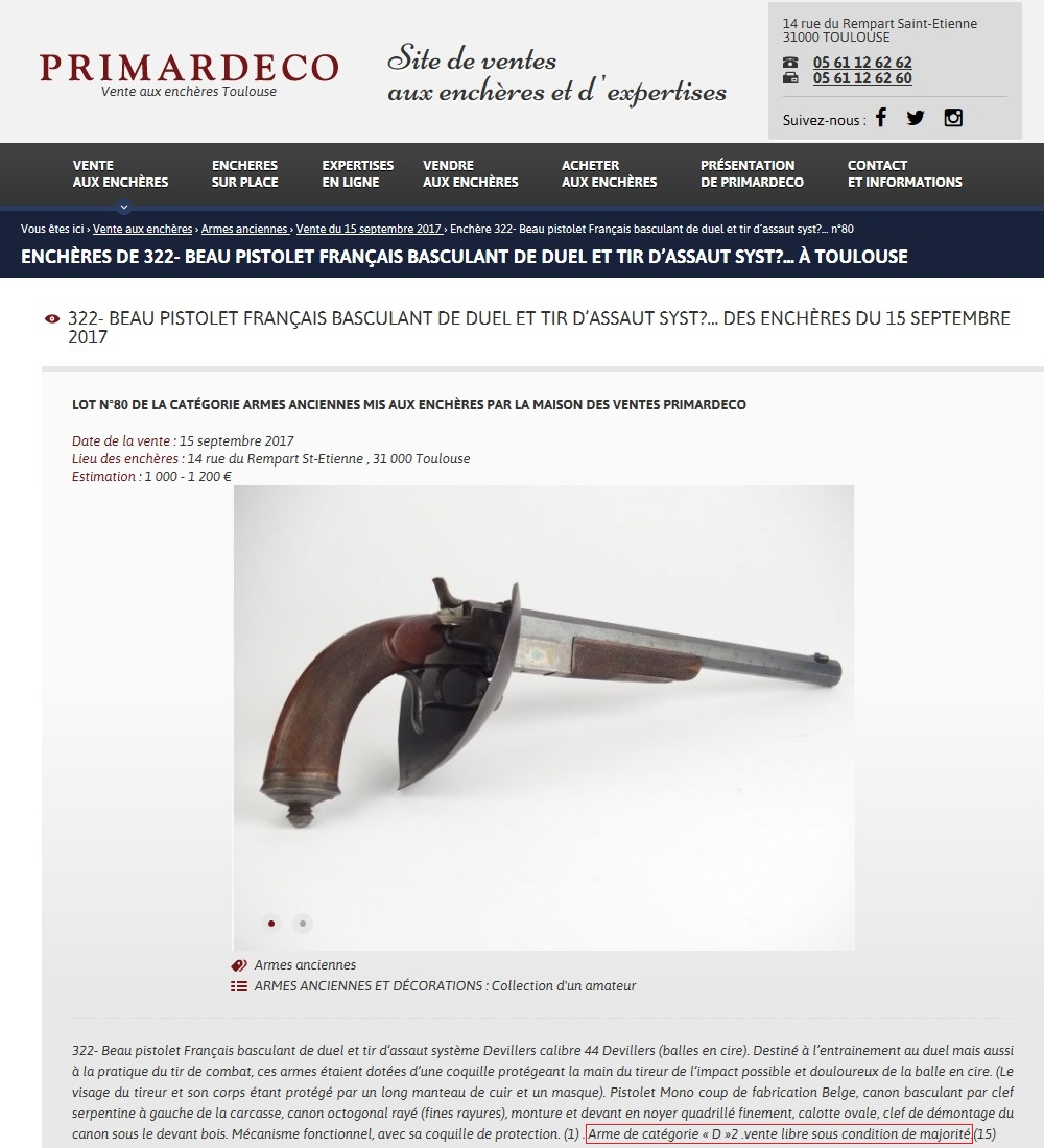"""Quelle catégorie pour les """"pistolets d'assaut"""" ? Annonc11"""