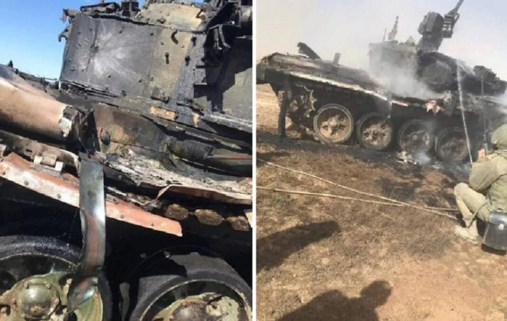 """دبابة قتال روسية من طراز T-90 """"أصيبت بطريق الخطأ بصاروخ"""" أثناء تدريبات عسكرية 31384010"""