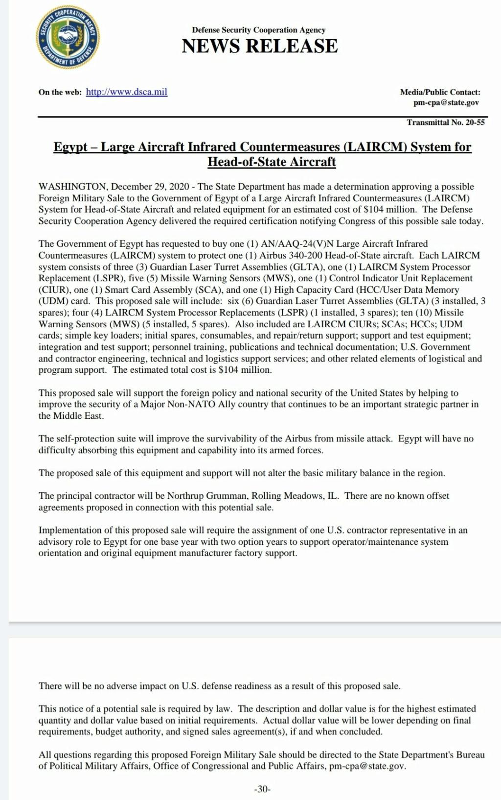 مصر ستحمي طائرة Airbus 340-200 رئاسية بنظام LAIRCM المضاد للأشعة تحت الحمراء الأمريكي  Eqb55e10