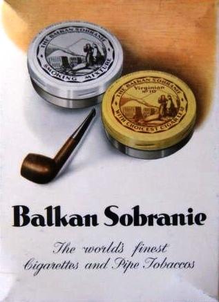 THE BALKAN SOBRANIE. SOBRANIE OF LONDON Ads-ba11