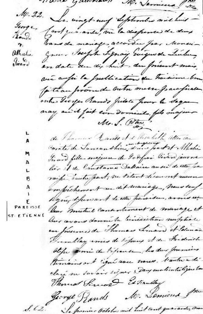 Rands, Georges et Athalie Girard L'ancêtre de tous les Rands, Rhands, Rhans, Rhainds, Rains au Canada  Acte_d11