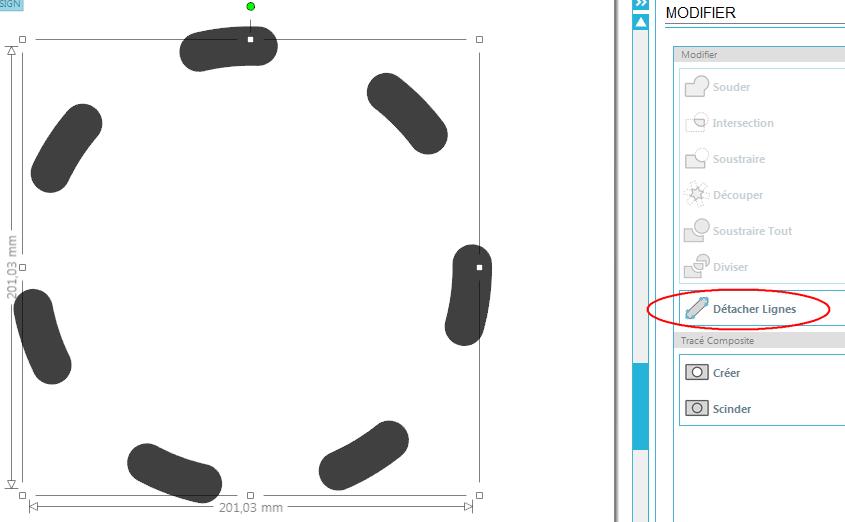 découpe cercle pointillé flex Detach10