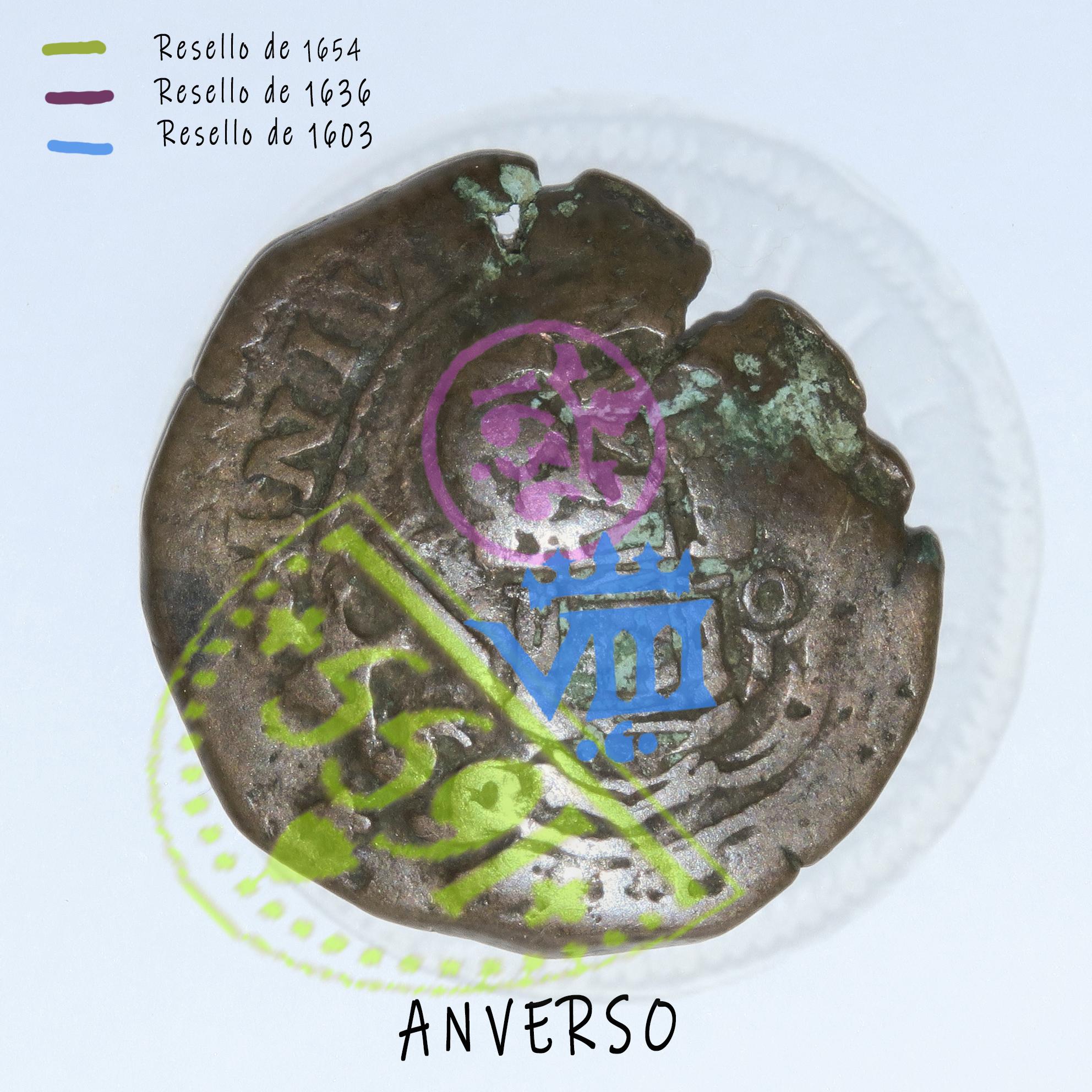 4 Maravedies de Felipe III de 160? (ceca de cuenca) resellados  Anvers12