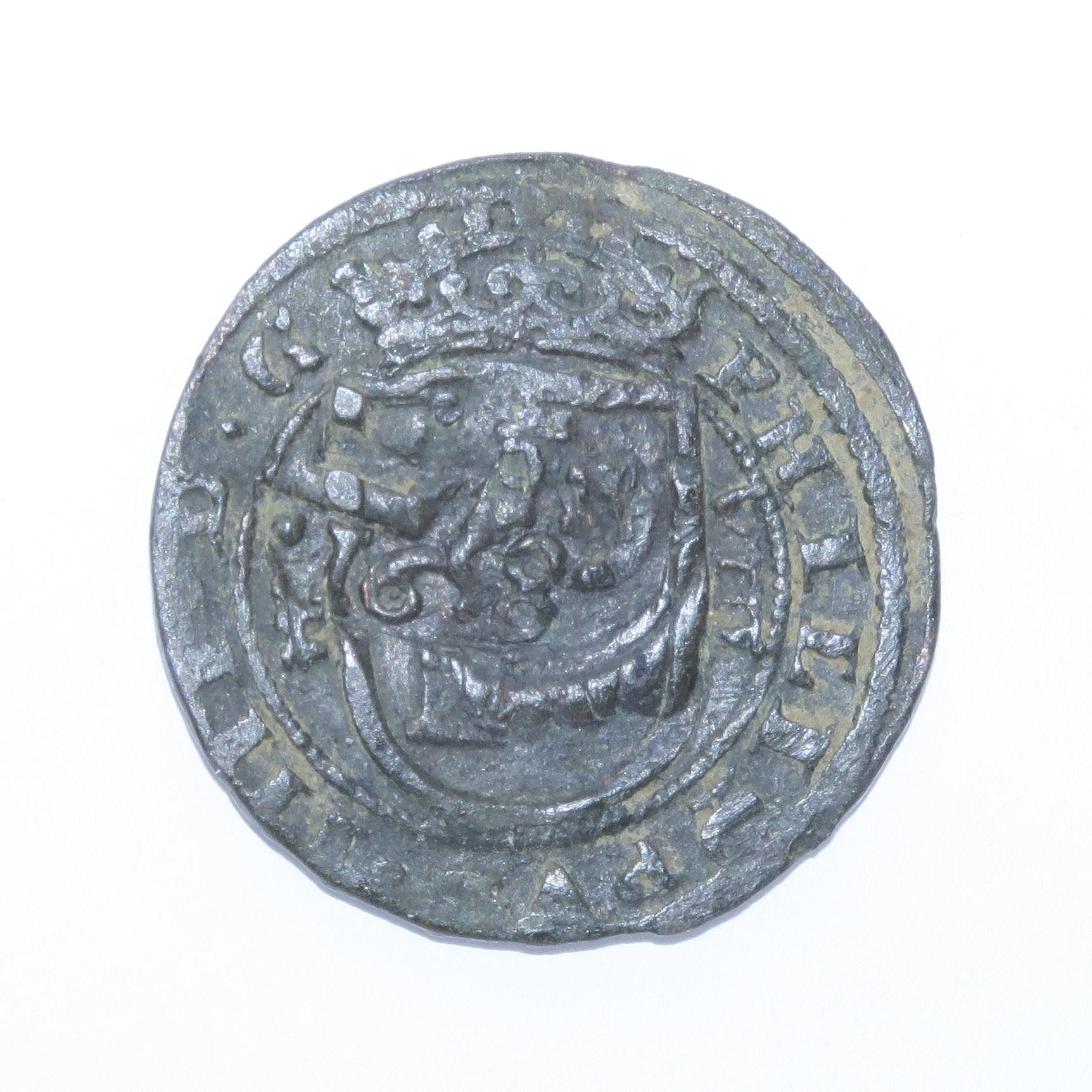 8 Maravedis 1614 e Felipe III de 1614 (ceca Segovia) resellados Anvers13