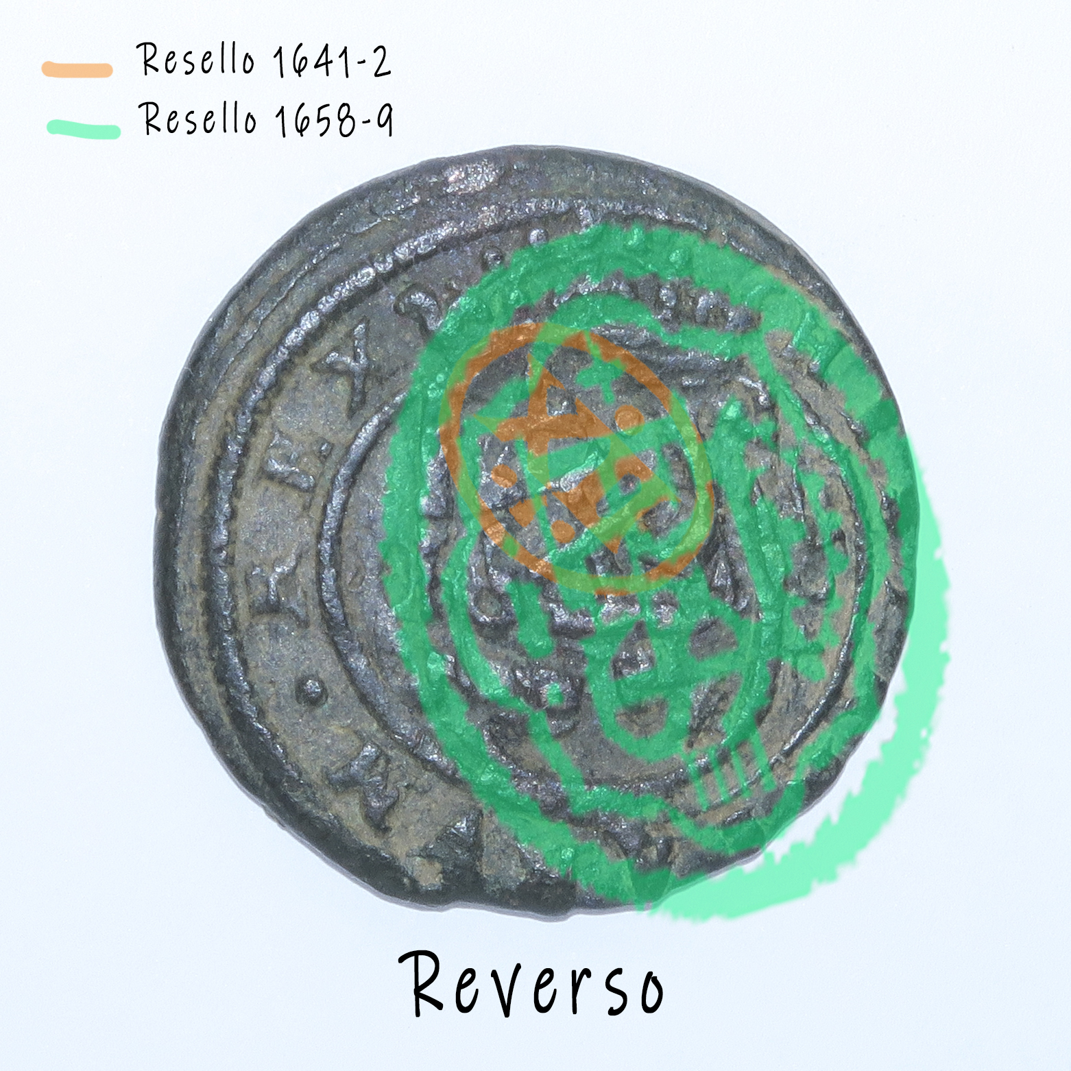 8 Maravedis 1614 e Felipe III de 1614 (ceca Segovia) resellados Revers12