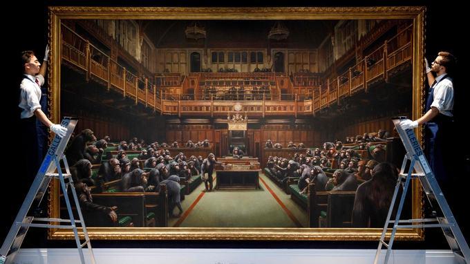Des chimpanzés au parlement britannique. Bansky10