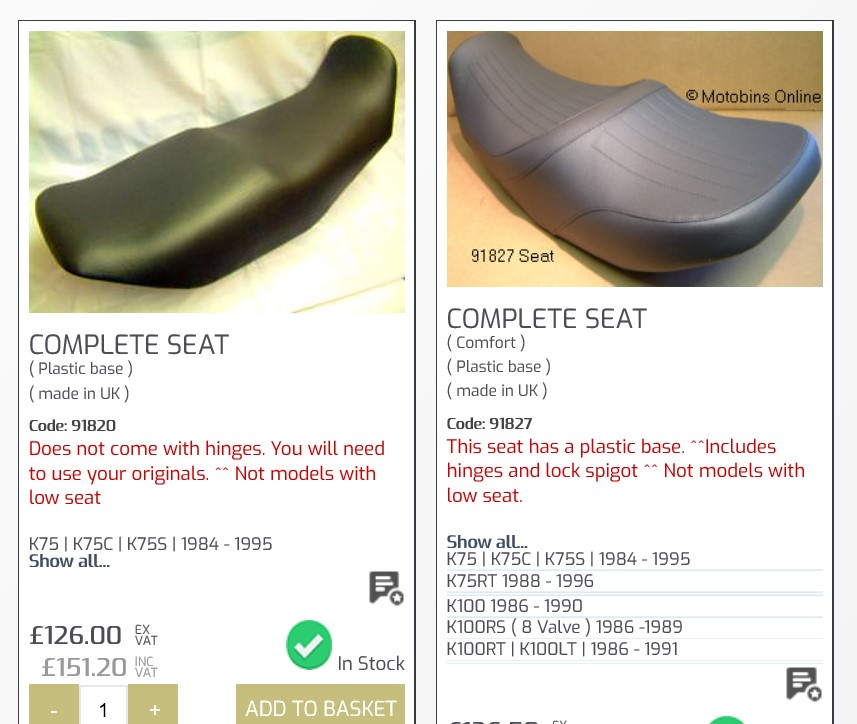 Seat for 94 K75S Motobi10
