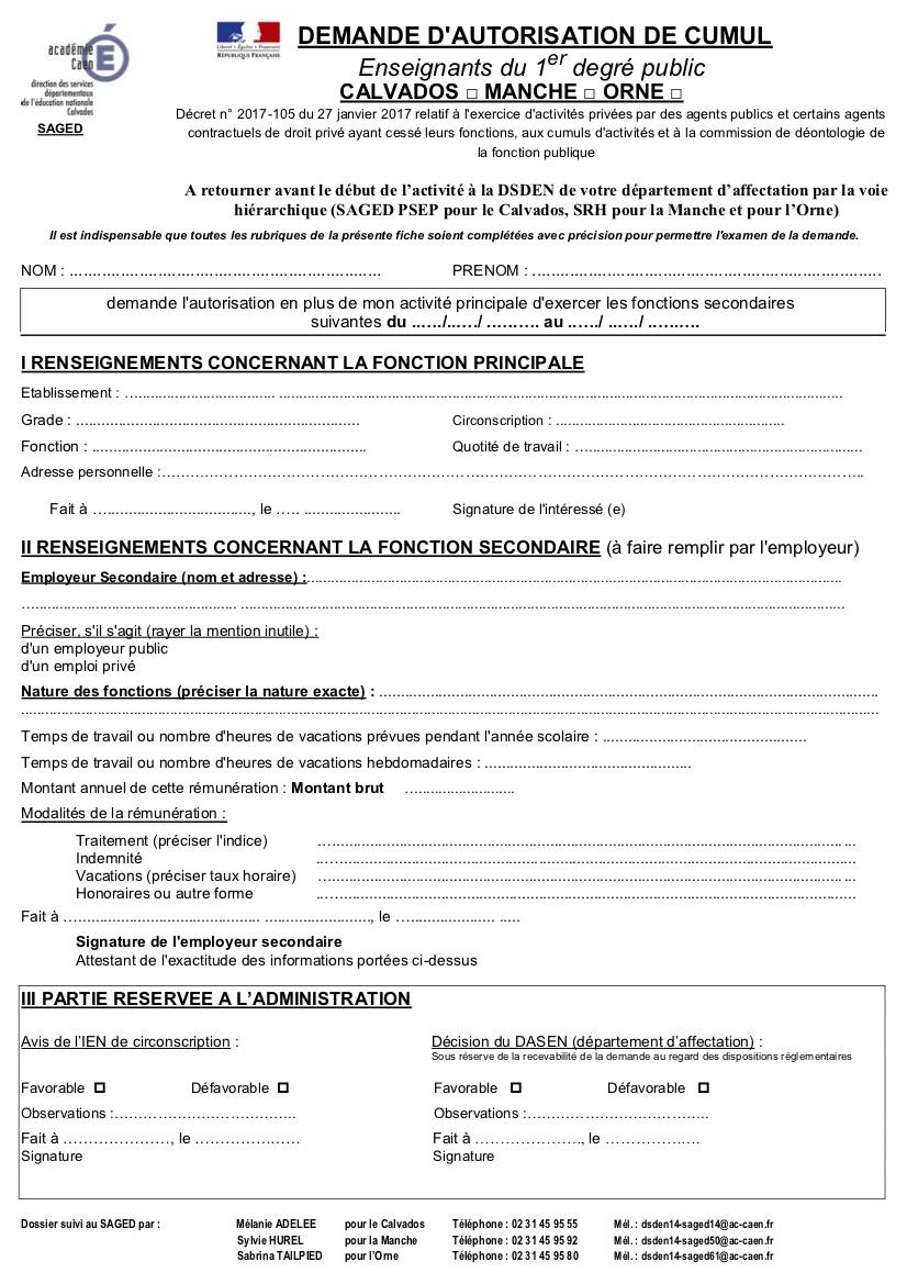 Cumul d'activités Professeur des Ecoles  et cours particuliers. Annexe11