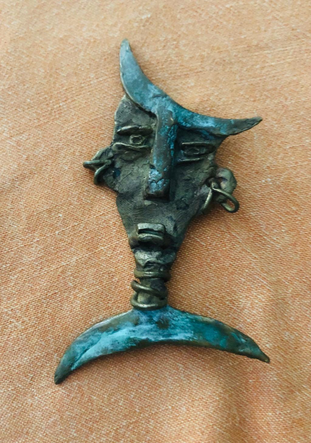 Bronze Face Brooch Img_3028