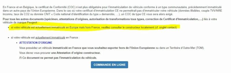 attestation identification ou COC Captur13