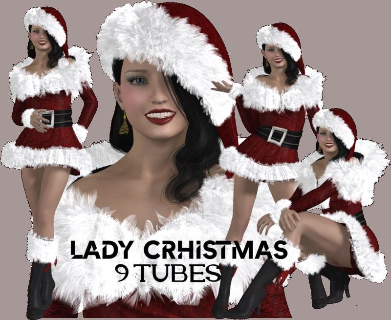 Tubes en 3D - Lady Christmas 3D Image010