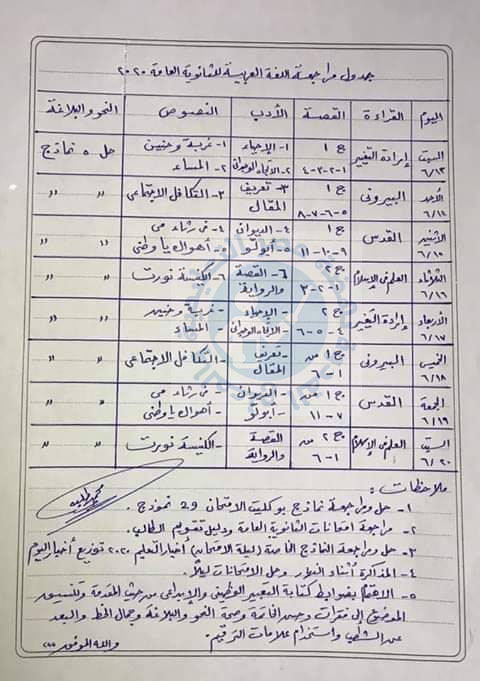جدول مراجعة و تنظبم وقت طلاب الثانوية العامة لأول مادة لغة عربية يبدأ من الأسبوع القادم 10443210