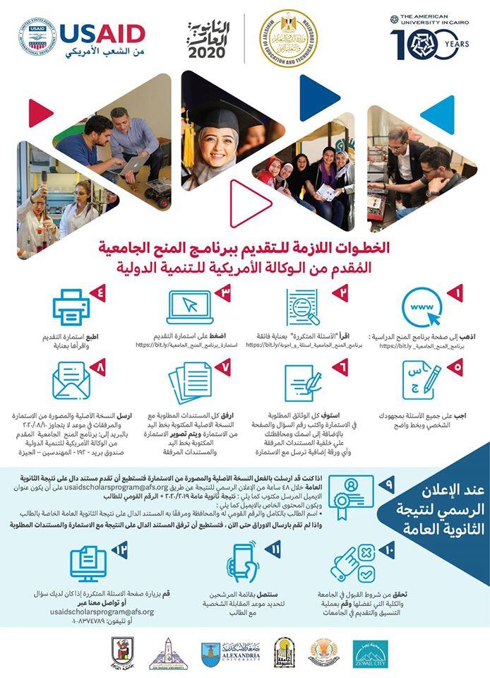 فرصة للطلاب - مد فترة التقديم لفرص المنح الدراسية الجامعية في مصر من برنامج المنح الجامعية المقدم من الوكالة الأمريكية 11727210